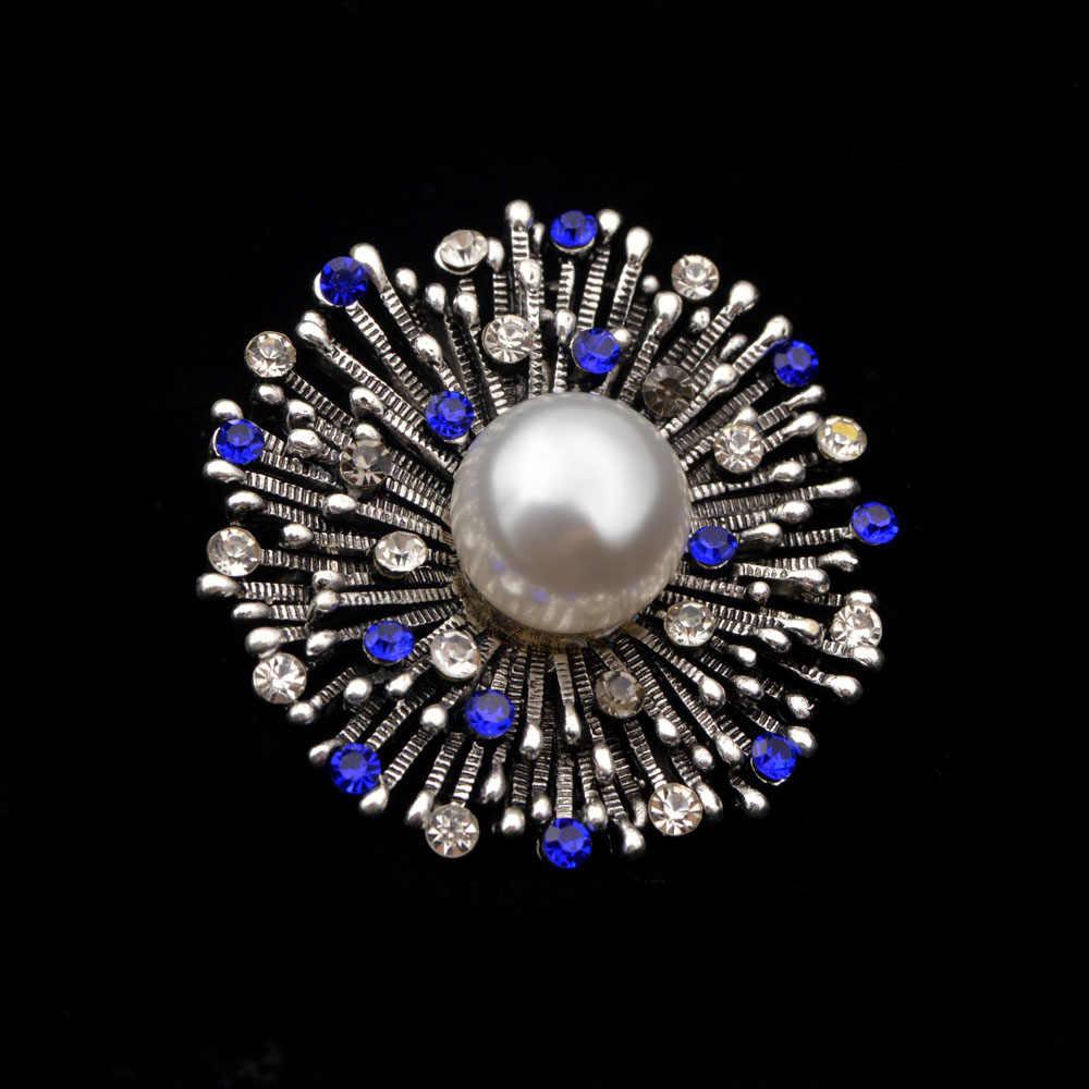 Cindy Xiang Berlian Imitasi Bunga Bros untuk Wanita Vintage Biru Warna Elegan Mantel Korsase Fashion Pin Perhiasan Mutiara Jeans Lencana