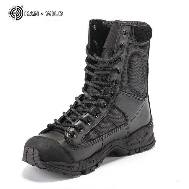 軍用アーミーブーツ男性黒革砂漠戦闘作業靴冬のメンズアンクル戦術的なブーツ男プラスサイズ