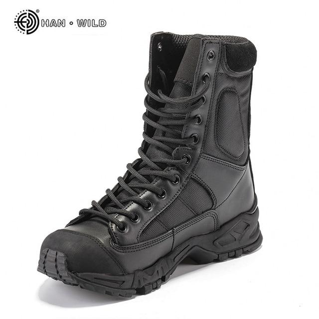 clásico selección premium patrones de moda € 27.21 50% de DESCUENTO Botas militares ejército hombres cuero negro  desierto combate trabajo zapatos invierno hombres tobillo botas tácticas  hombre ...