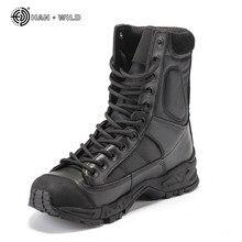 e5a342bad Militar Do Exército Botas de Combate Do Deserto Dos Homens De Couro Preto  Sapatos de Trabalho de Inverno Dos Homens Ankle Boot T..