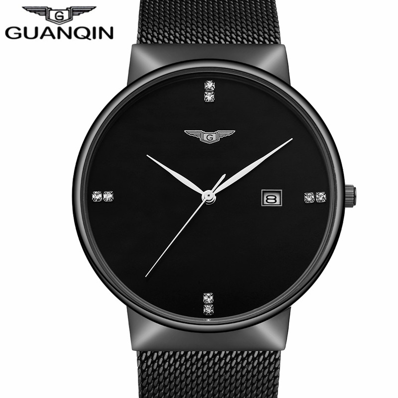 GUANQIN Luxury Brand Casual Black Stainless Steel Quartz Watch Men Fashion male simple Wristwatch Business clock hours Montre mens watch top luxury brand fashion hollow clock male casual sport wristwatch men pirate skull style quartz watch reloj homber