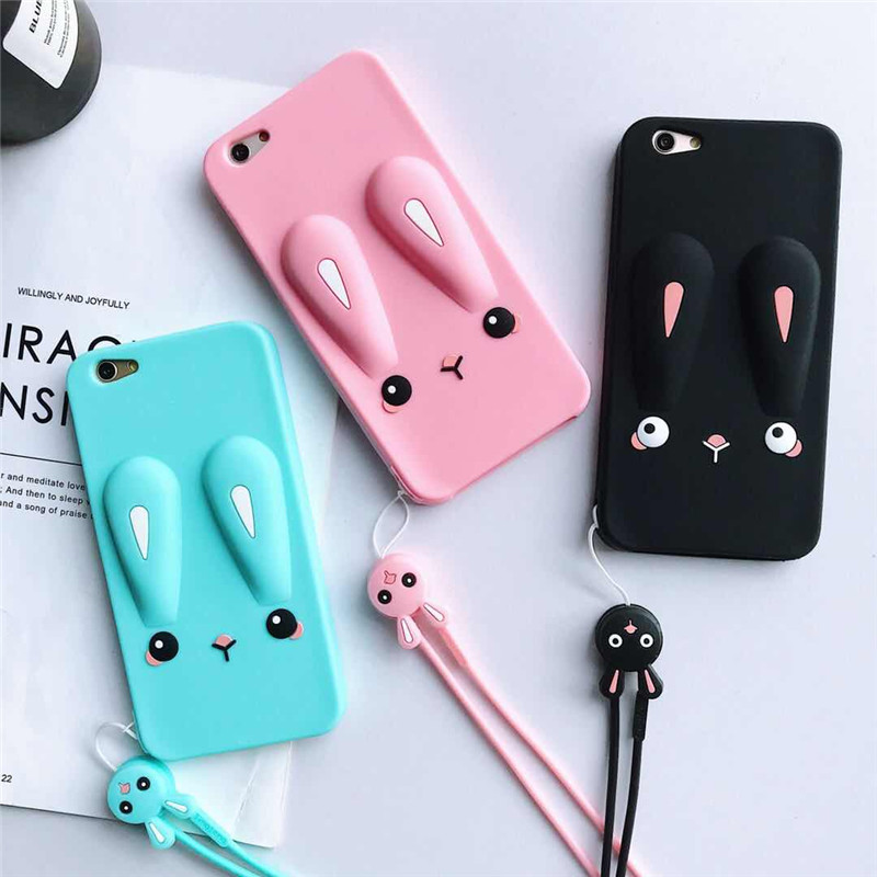 3D Cartoon Cases For OPPO F9 F7 F5 F3 F1S Cute Rabbit Soft Silicone Case For OPPO A83 A79 A75 A73 A71 A59 A57 A39 A37 A5 A7X