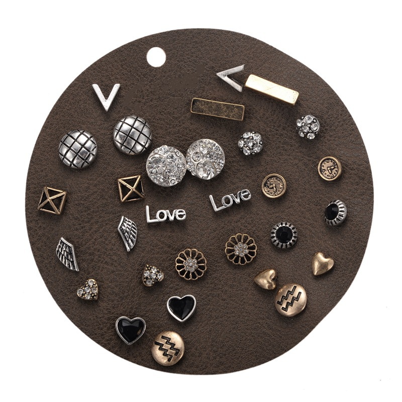 15 Pairs/set Stud Earrings Set Women Vintage Punk Love Heart Flower Geometric Stud Earrings Set For Women Modern Jewelry Gifts gold earrings for women