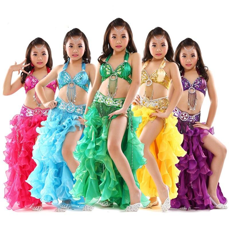 c5d814c80052 Costumi di Danza del ventre Costumi di Danza Delle Ragazze Bambini Orientale  Sexy Indiano Vestito I Bambini Mostrano Vestiti di Ballo di Usura di ...