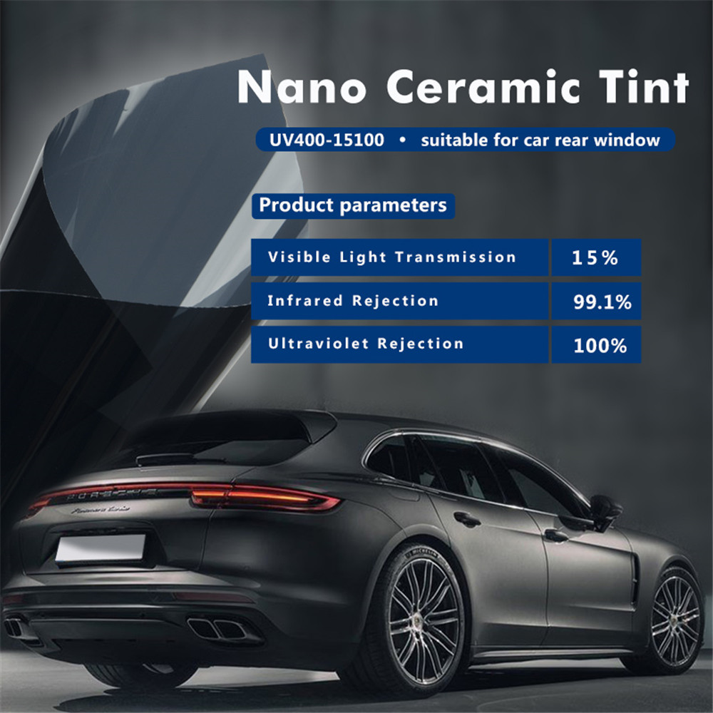 152cmx100cm Black Car Window Tint Film Glass VLT 15% Roll Car Auto House Commercial Solar Protection Summer