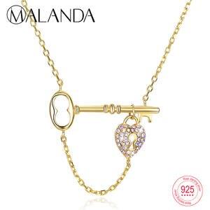 5d882a199 MALANDA Key Lock 925 Sterling Silver Jewelry