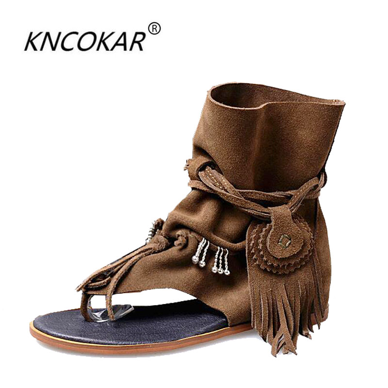 In 2017, the new relaxed style of the Roman gladiator sandals spring summer comfortable flat sandals and sandals and cool boots new head layer of cowhide flat bottomed lady sandals with relaxed and comfortable fashion women s sandals comfortable sandals