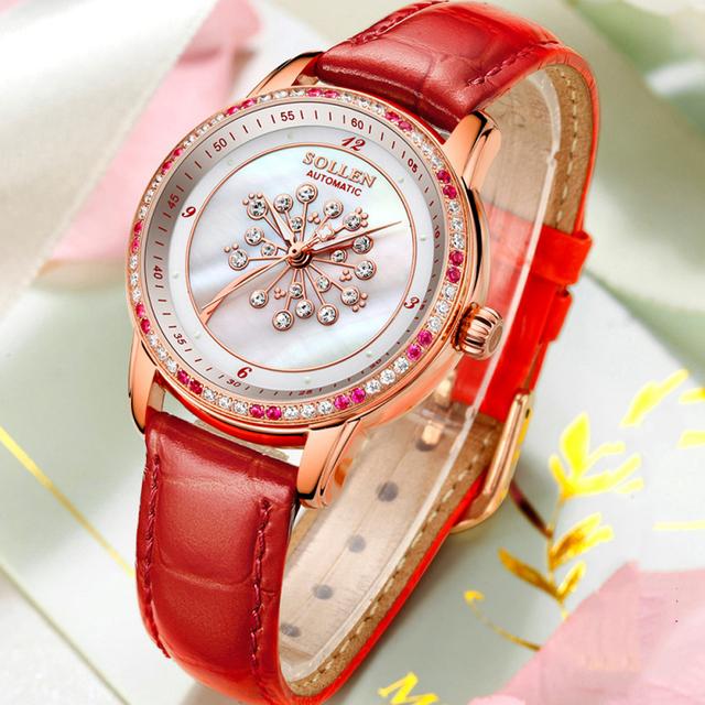 SOLLEN Women Watches Luxury Brand Ladies Automatic Mechanical Watch Women Diamond Mother Pearl Dial Waterproof relogio feminino