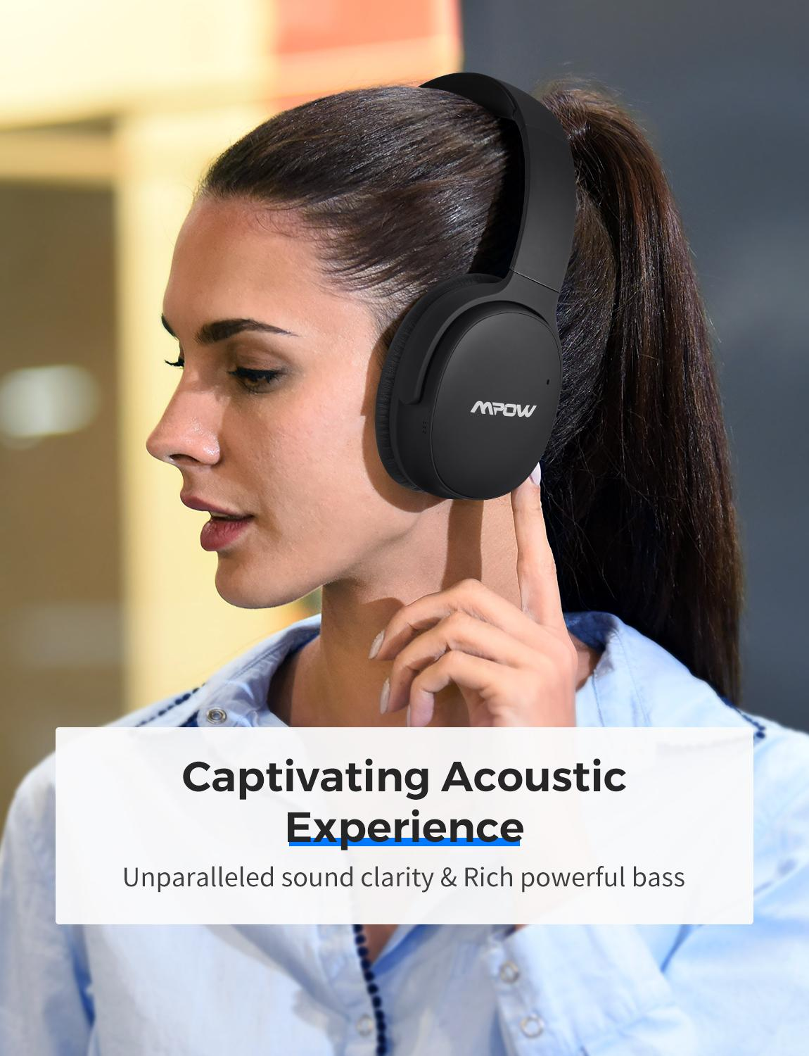 Mpow H10 Upgraded Active Noise Cancelling Bluetooth Wireless Headphones 30H Playing Time With Mic For Iphone Xs Samsung Xiaomi
