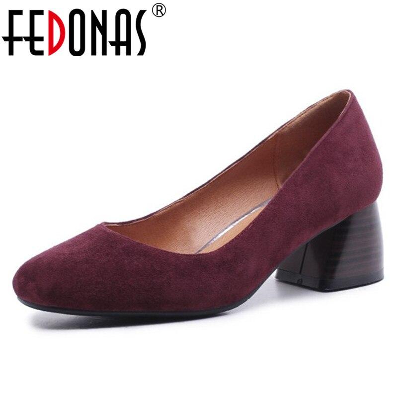 Noce Hauts Femmes Chaussures Sur Glissement Femme Base Talons Élégant Mode Rond Cuir Véritable Noir En De Fedona 1 Pompes Bout rouge Bureau nO8k0wXP