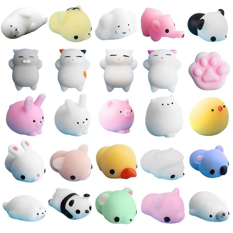 25PCS Cute Mochi Squishy Cat Squeeze Healing Fun Kids Kawaii Toy Stress Reliever Decor High Quality DropShipping Xm20