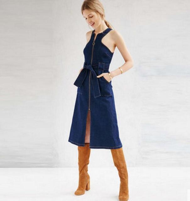 720c436ff8f New Fashion 2018 Spring Summer sleeveless Split Drees Sexy lace-up Women  denim Dress Ladies zipper jeans Dresses Vestidos w865