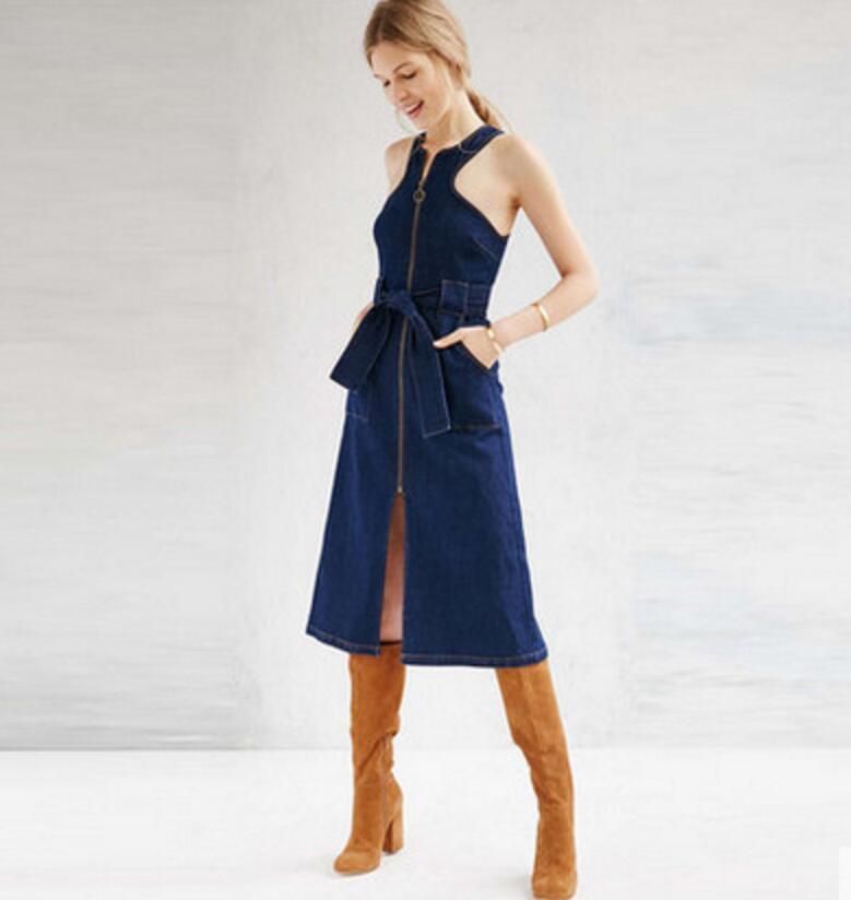 New Fashion 2018 Spring Summer sleeveless Split Drees Sexy lace-up Women denim Dress Ladies zipper jeans Dresses Vestidos w865 ...