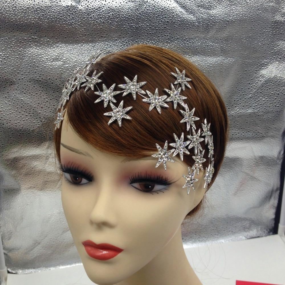 Fashion Elegant Sparkly Crystal Star Tiara Hair Hoop Silver Plated Bride Headdress Rhinestone Hair Jewelry Wedding Accessories