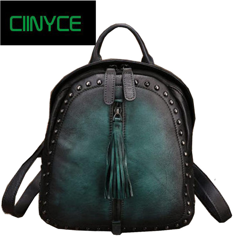 Genuine Leather Handmade Vintage Women Back pack Female Bags 2018 High Quality Cow Leather Rivets Tassel Soft Skin Backpack