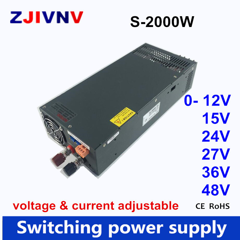 2000w Switching Switch Power Supply ac dc current voltage adjustable 12v 15v 24v 27v 48v 36