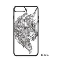 Animal Sketch Sloth Leopard Cat Lynx Eagle Elephant Black White Line Dog Phone Case For IPhone