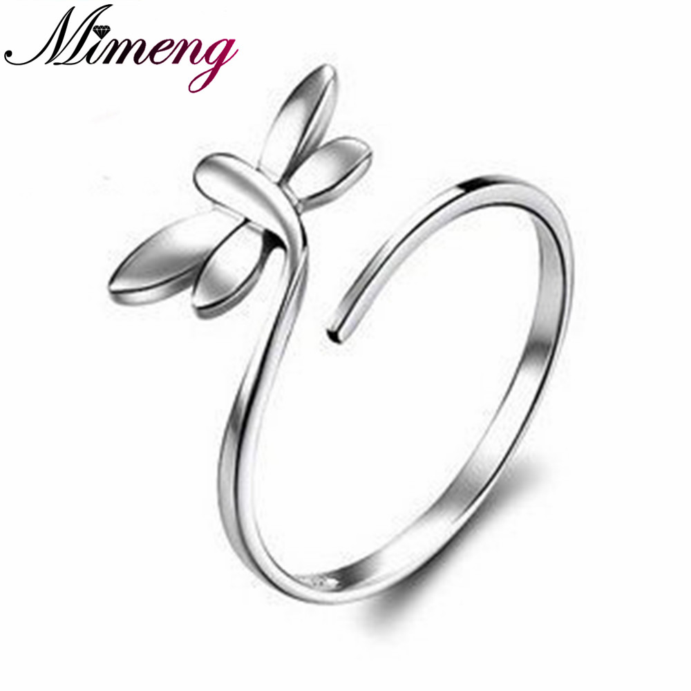 100% Sterling Silver Jewelry Lovely Female Models Ring Dragonfly ...