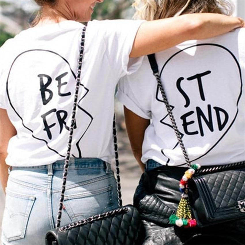 14efdb6c944 New Fashion Graphic Tees Best Friends T shirt fro Girls Summer 2018 Women  Printed Casual T Shirt Femme Clothing Funny T-shirts