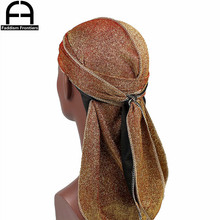 Unisex Men Women Shiny Silk Durag Long Tail Breathable Bandanas Turban Hat Waves Cap Hair Cover Headband Headwrap Du Rags