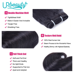 Image 4 - 50g/pc Peruvian body wave bundles with closure human hair bundles with closure UR Beauty Remy hair natural color can make a wig