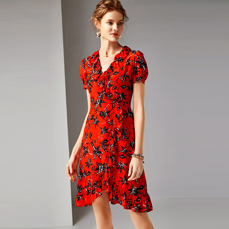 Été robe soie imprimé 2019 femmes nouveau col en v volants manches courtes mince élégant irrégulière robe genou longueur S-XL