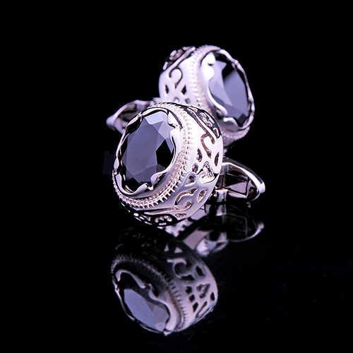 Kflk luxo camisa abotoaduras botões de punho para homens marca botão de punho retro abotoaduras alta qualidade preto arrogância gemelos jóias