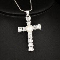 SINLEERY Trendy Frauen Kreuz Anhänger Lange Halskette Mit Glänzenden zirkonia Frauen Winter Silber Farbe Kette MY078 SSD
