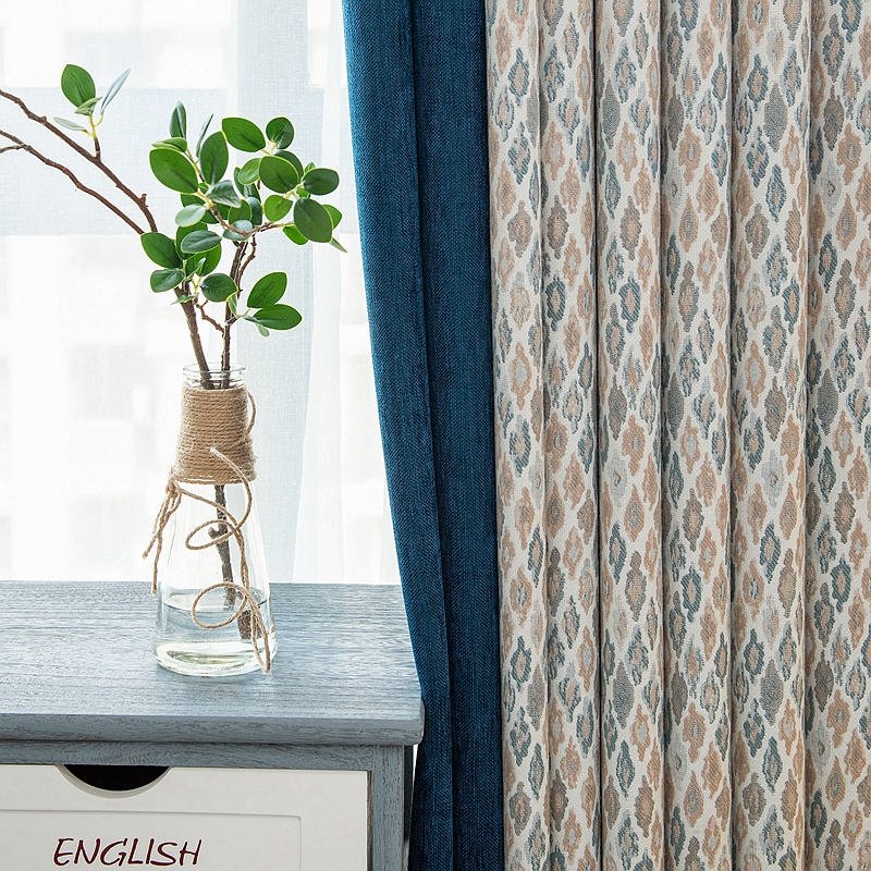 custom curtains Nordic American style thick shade splice cotton geometry bedroom living room blackout curtain M601|Curtains| |  - title=