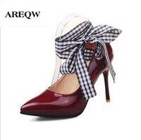 Areqw wiosna skórzane buty na wysokim obcasie cienki obcasach wskazał szef wstążki koronki buty duże rozmiary dla kobiet może nosić dwa muszka na wysokich obcasach