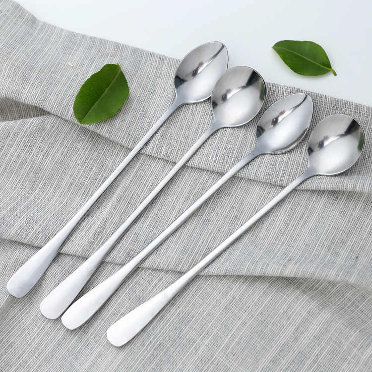 Long Handled Stainless Steel Coffee Spoon Kitchen Accessories Ice Cream Dessert Tea Spoon For Picnic
