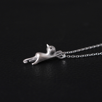 Cat Pendant 925 Silver Necklace2