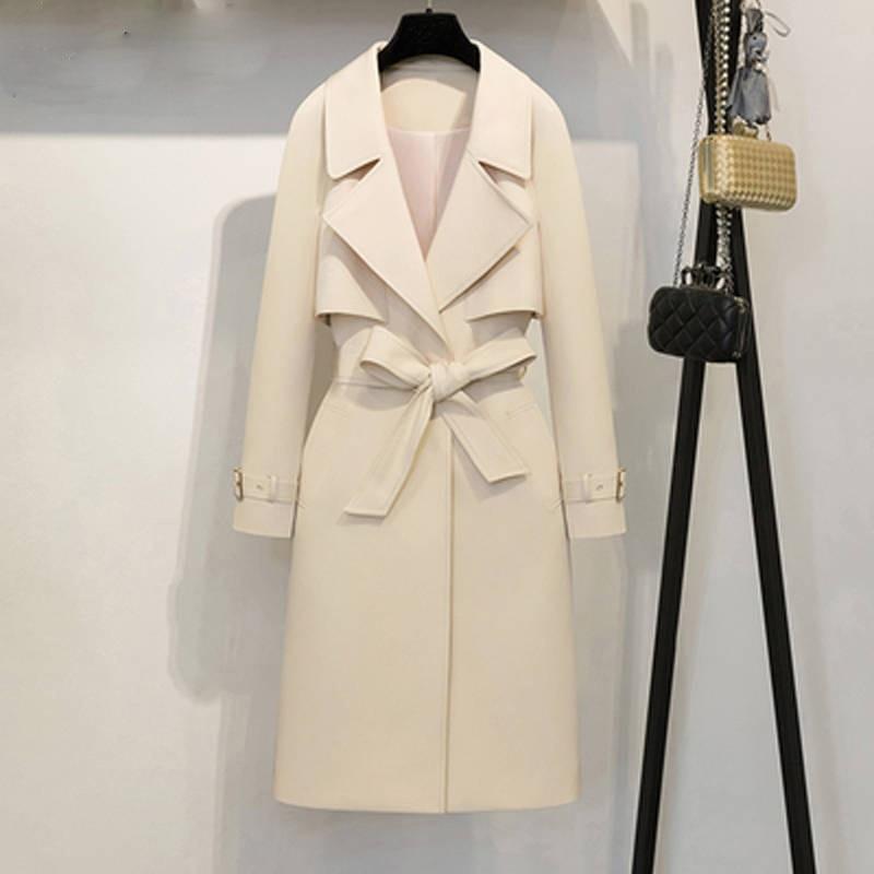 Turn Femelle Col Beige blanc Trench Z90 Automne Solide Ceinture Long down Outwear Pardessus Élégant Abrigos Couleur Avec Cardigan coat rose De Décontracté Femmes qwSFvtA