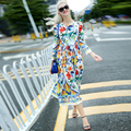 Designer Runway Dress Summer New Fashion Women Long Sleeve Chiffon Cotton Gorgeous Contrast color Floral Print Dress vestidos