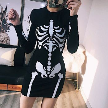 Punk Skull Print O-Neck Long Sleeve Women Dress Skeleton Casual