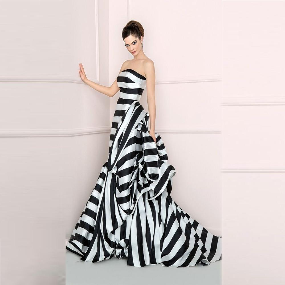 Black And White Stripe Evening Dresses Strapless Sleeveless A Line ...