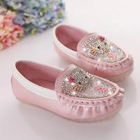 2015 Autumn Hello Kitty Princess Girls Sequins Rhinestone Sequin Shoes Leather Girl Casual Soft Children S