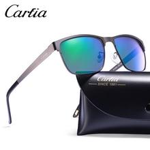 Carfia Män Retro Polariserade Solglasögon Vintage Square Sun Glasses Körglasögon Spegel Objektiv Märke Designer 100% UV400 CA5225