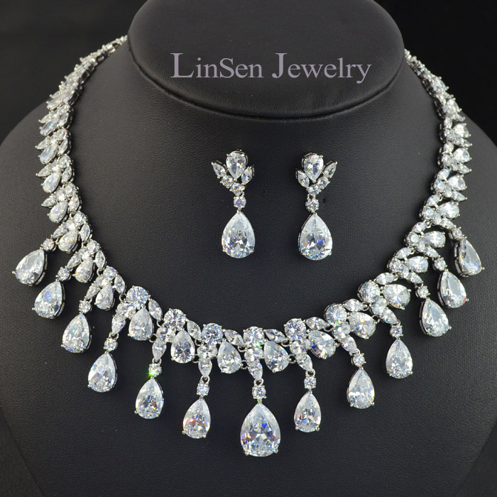 New design luxury tassels necklace earring jewelry set,high quality AAA Cubic Zirconia jewelry set for wedding
