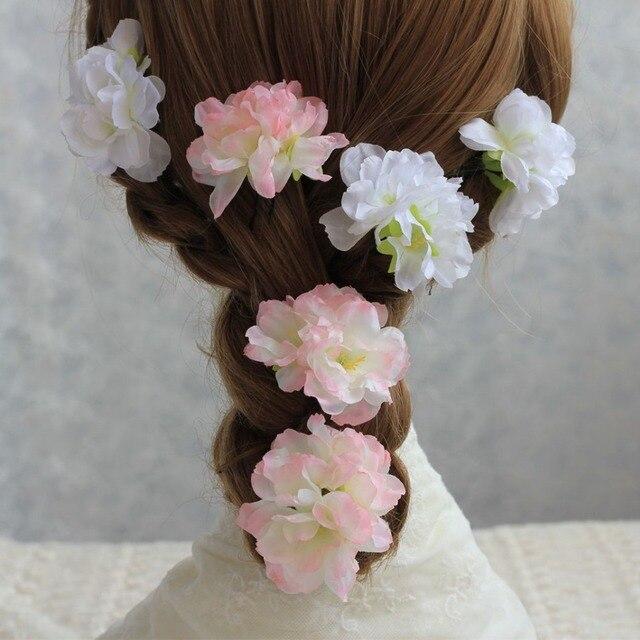 30pcs 3 Heads Artificial Silk Peach Blossom Flower Fake Cherry Wedding Flowers For DIY