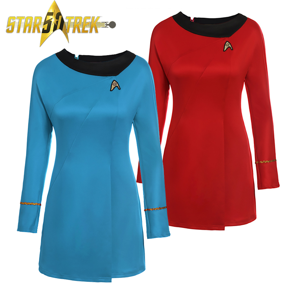 Adult Star Trek Costume TOS Original Series Female Officer Uniform Sciences Dress Uhura Cosplay Halloween Costumes for Women