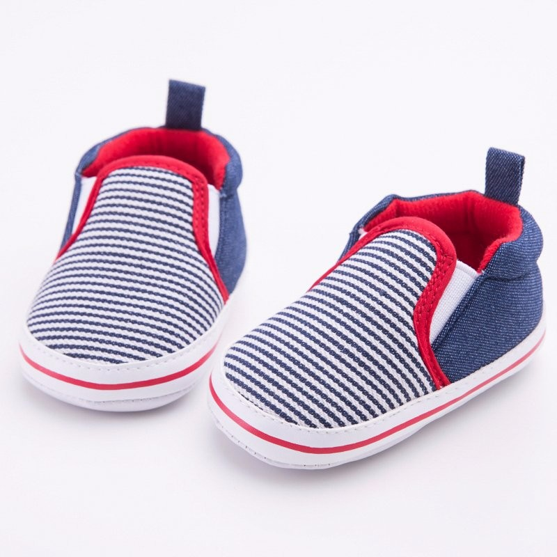 Fashion Toddler Striped Pattern Baby Boys Girls Crib Shoes First