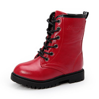 New Boys Girls PU Leather Snow Winter Ankle Boots Children Shoes Kids Martin Casual Boots Flats