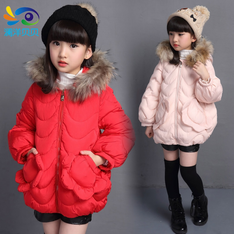 ФОТО Children's clothing  female child wadded jacket primary school students casual child thickening outerwear cotton-padded
