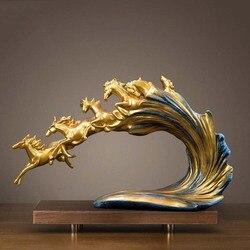 Новые Ретро статуи шести лошадей и скульптуры геометрические украшения животных статуя изделия из смолы украшения дома аксессуары Подарки