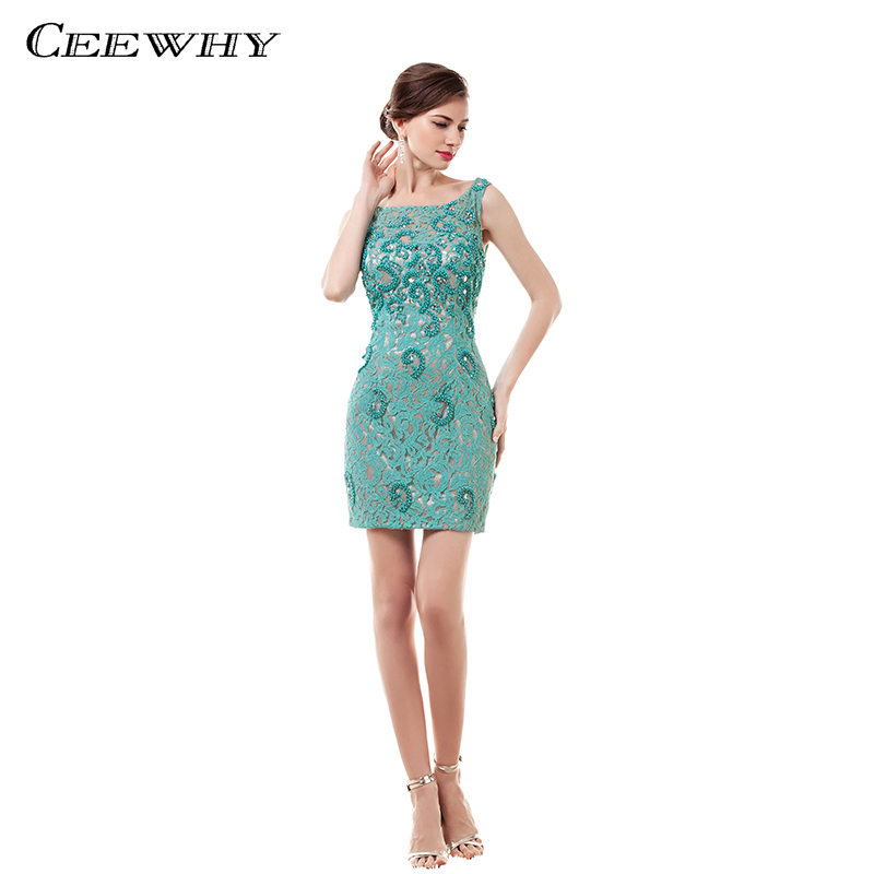 CEEWHY Above Knee Sexy Party   Dress   Elegant Crystal Vestido   Cocktail     Dresses   Summer Beading Short Lace Prom   Dresses