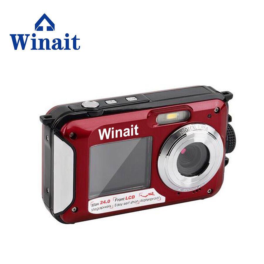 Winait enregistreur vidéo étanche DC-16 Full HD 1080p appareils photo numériques 24mp photographie 16x Zoom numérique double écran Fotografia