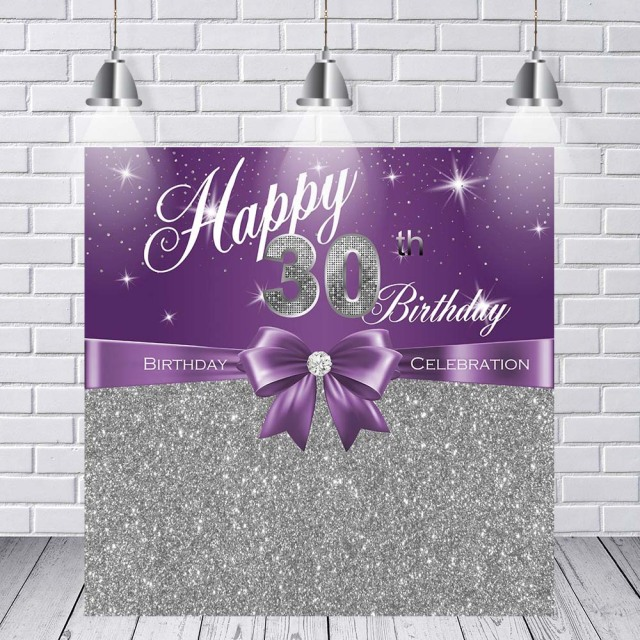 Vinyl Photography Background Adult Luxury Lady 30th Birthday Party Decor Purple Silver Glitter Banner Backdrop Photo