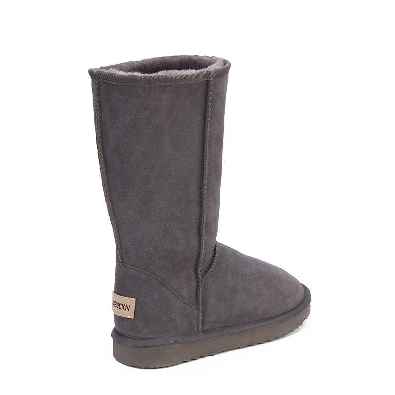 HABUCKN hoge snowboots voor vrouwen winter schoenen schapenvacht leer bont gevoerde grote meisjes tall wol dij winter laarzen zwart