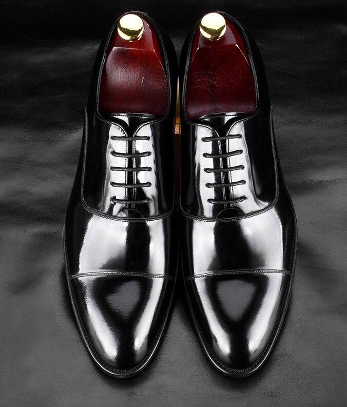 De Zapatos Italiano Hombre Vestir Calidad Diseñadores Genuino Lujo Oxford Vintage A Hecho Cuero Qyfcioufu Alta Tapa Negro Formal Dedo Mano qEBct